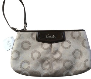 Coach Large Sateen Dotted Op Art Ashley Wristlet in Khaki/Mahogany