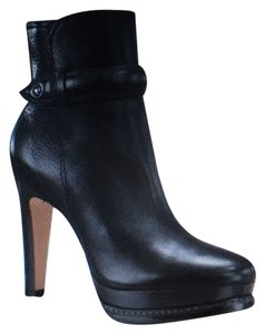 Talbots & Quality Made In Brazil Tumbled Leather Stacked Heel Like New Black Boots