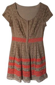 LC Lauren Conrad short dress Brown with Pink Lace on Tradesy