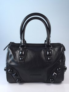 Burberry Studded Leather Stud Satchel in Black