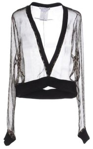 Givenchy Sheer Cropped Silk Chiffon Top Leopard