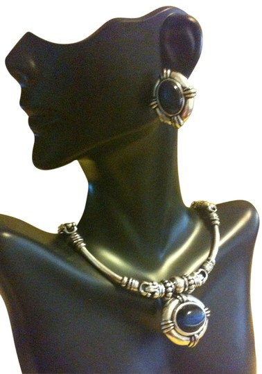 Avon Avon Silver and blue stone necklace and earrings