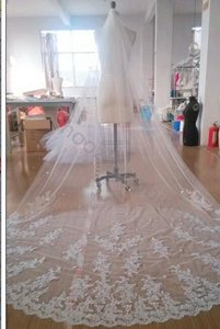 Gorgeous Lace White Cathedral Veil 1 Tier With Comb