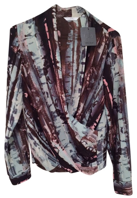 Item - Multi-color Abstract Print Long Sleeve V-neck Blouse Size 4 (S)