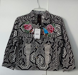 Free People Vintage Studded Aztec Embroidered black/ white Jacket