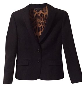 Dolce&Gabbana Work Wool Italy Tailored Business Suit Professional Adult Boss Leopard Fitted Charcoal Blazer