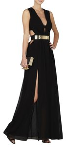 BCBGMAXAZRIA Plunging V-neckline Sleeveless Cutouts With Horizontal Straps At Bodice Open Imported Dress