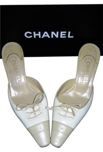 Chanel Made In Italy Leather White and Beige Pumps