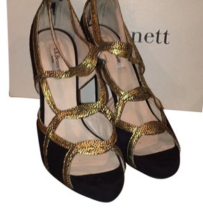 L.K. Bennett Black suede and gold Formal
