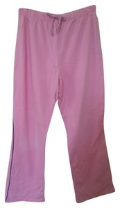 Just My Size Cotton Blend Tie Casual Elastic Comfortable Gym Athletic Machine Washable Year-round Medium 10 Relaxed Pants Pink with Black Piping along the sides