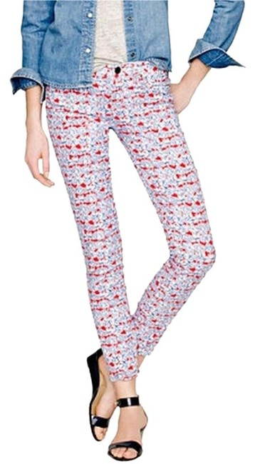 Item - White Red Blue Printed Light Wash Liberty Toothpick In Matilda Tulip Floral Skinny Jeans Size 33 (10, M)