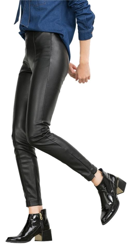 39b726f659 Zara Black New Faux Leather High Waisted Skinny Trousers Pants Tags S  Leggings. Size: 4 ...