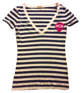 Hollister T Shirt Navy Blue & White