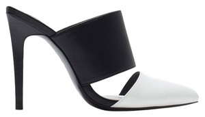 Zara Black White High Heels Heeled Black/white Mules