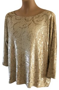 Armani Collezioni Sequin Beaded Made In Italy Designer Going Out Drape Top Gold