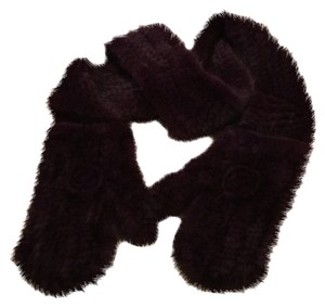 Other Plush REAL KNITED MINK PURPLE SCARF MITTENS ALL IN ONE