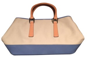 Coach Satchel in beige canvas, light blue leather