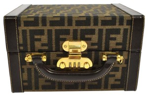 Fendi Auth FENDI Zucca Pattern Cosmetic Hand Bag Hardcase Brown Canvas GHW GOOD A13190