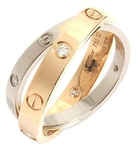 Cartier Cartier 18K Baby Love Ring, 6 Diamonds, Pink Gold, White Gold Size #52