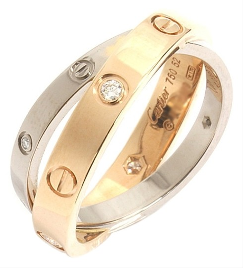 Cartier 18K Baby Love Ring, 6 Diamonds, Pink Gold, White ...