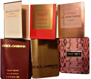 Designer lot of Sample perfumes 6 Piece Sampler lot of Designer Parfum D&G,CARTIER,Jimmy CHOO