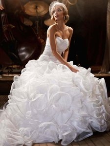 David's Bridal Ball Gown With Embellished Waist And Ruffled Skirt Wedding Dress