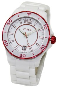 Fossil Fossil White and Magenta Ceramic Bracelet Ladies Watch #CE1051 NWT $325