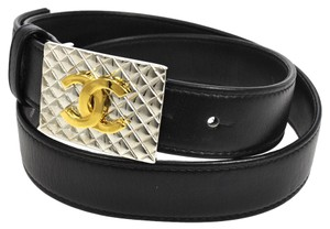 Chanel Auth CHANEL CC Quilted Buckle Belt Black Gold #70/28 France 98P Vintage NR05394