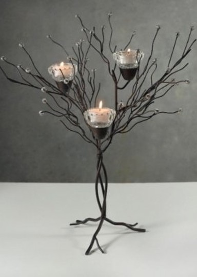 Brown/Black 16 In Tabletop Iron Twig Tree Candle Votive Centerpiece
