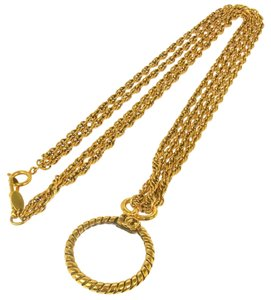 Chanel Authentic CHANEL Vintage CC Logos Gold Chain Loupe Motif Necklace France S01341