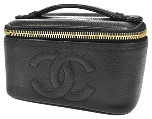 Chanel Auth CHANEL CC Cosmetic Hand Bag Pouch Black Caviar Skin Vintage Italy AK04831