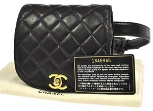 Chanel Auth CHANEL Quilted CC Logos Bum Bag Black Gold Leather Vintage Italy BA00336