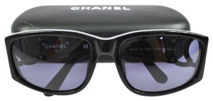Chanel Authentic CHANEL Vintage CC Logos Sunglasses Eye Wear Black Plastic Italy W26434