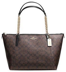 Coach Leather F27661 32821 F32821 Taylor Embossed Trim Exotic Peython Satchel in Brown Black gold tone hardwre