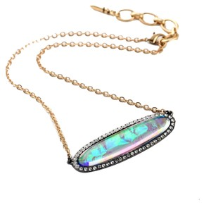 Other Iridescent Pave Stone Bar Necklace