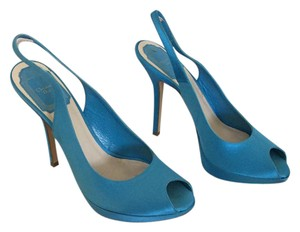 Dior Slingback Peep Toe Satin Christian Platform BLUE Pumps
