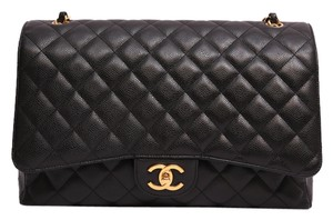 Chanel Classic Double Flap Maxi Quilted Caviar Shoulder Bag