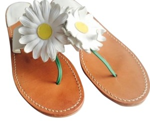 Jack Rogers Flower Leather Thong White Sandals