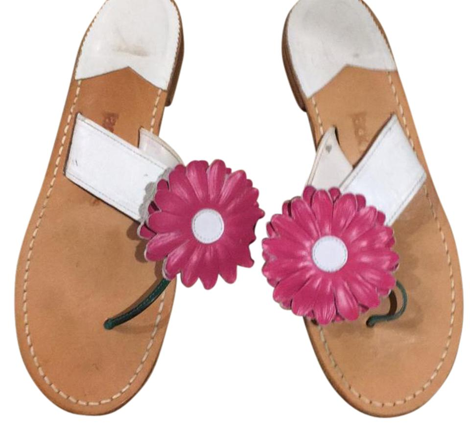 08b1a454316 Jack Rogers White Daisy Flower Leather Sandals Size US 8 Regular (M ...