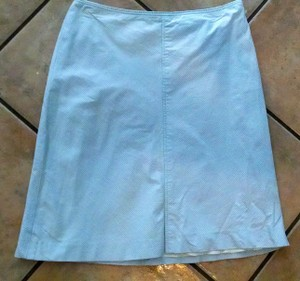 Ann Taylor P713 Dress Knee Length Skirt White gray pin striped