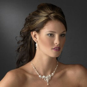 Elegance By Carbonneau Pearl And Crystal Bridal Wedding Jewelry Set