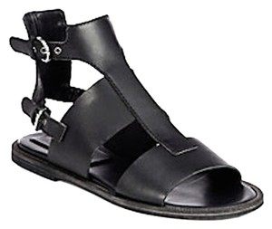 Jil Sander Leather Flat Black Sandals