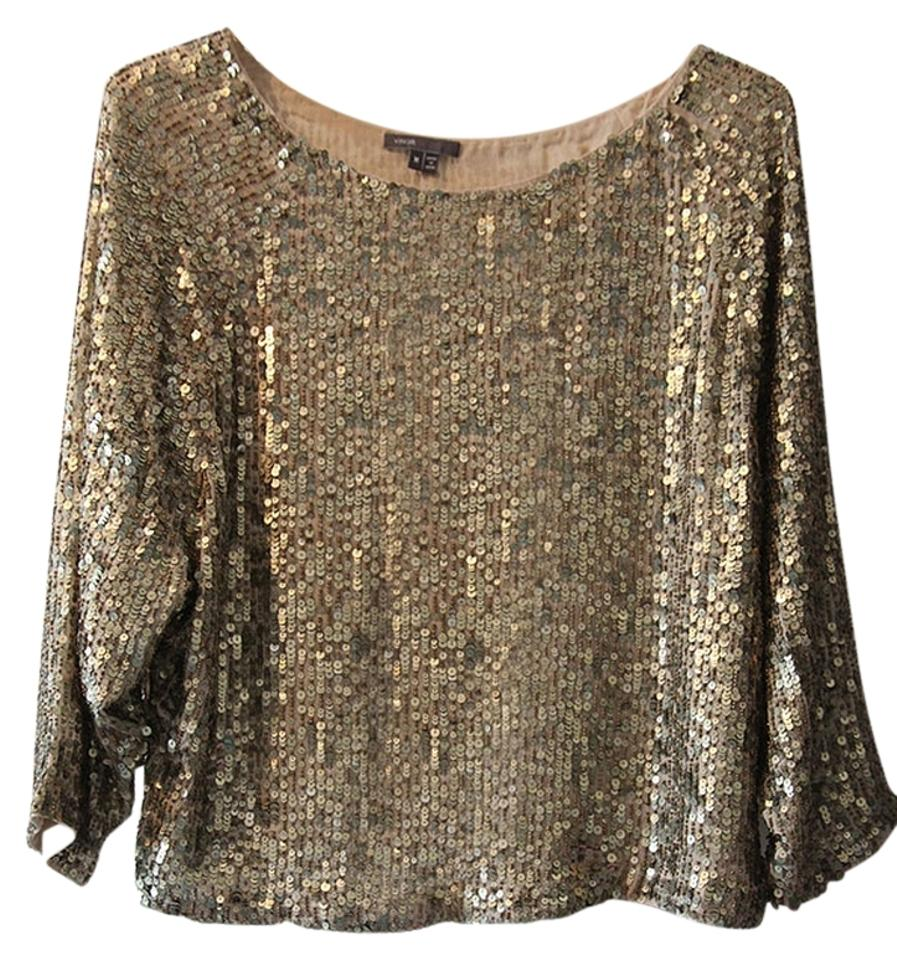 3588a69f242ba Vince Gold Sequin Beads Blouse Size 10 (M) - Tradesy