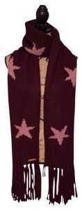 Coach Coach Intarsia Wool Blend Winter Scarf Burgundy/Orchid