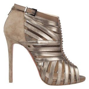 Christian Louboutin Comfortable Exclusive Bootie Camel color suede, bronze metalic leather Pumps