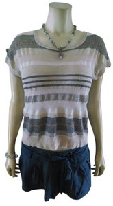 Forever 21 Size Small Striped P715 Top gray white beige