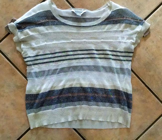 Forever 21 Size Small Striped P715 21 Top gray white beige