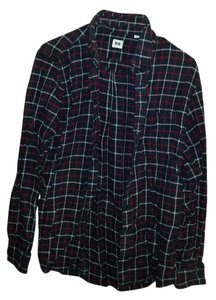 Uniqlo Flannel Comfortable Button Down Shirt Navy plaid