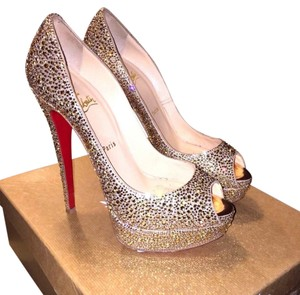 Christian Louboutin Lady Peep Peach Strass Pumps