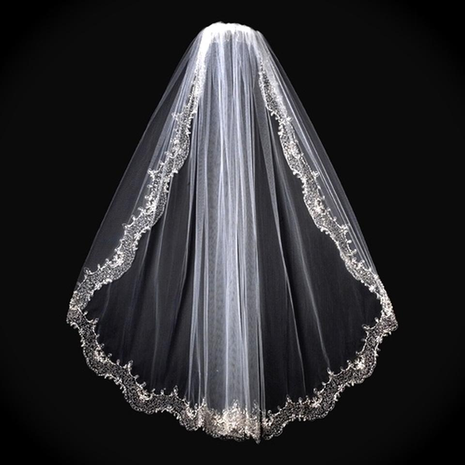 Ivory Medium Crystal Vintage Beaded Bridal Veil 123